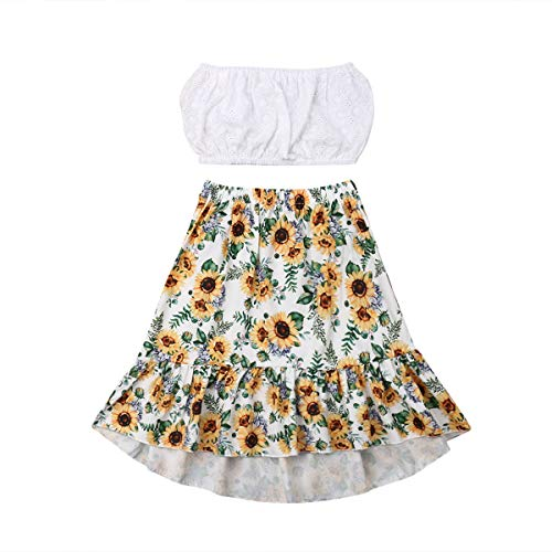 Toddler Baby Girls Ruffle Tube Top+Boho Floral Skirt Summer Outfit Clothes Two Piece Set(White Tube Top+Sunflower Skirt, 5-6T)]()