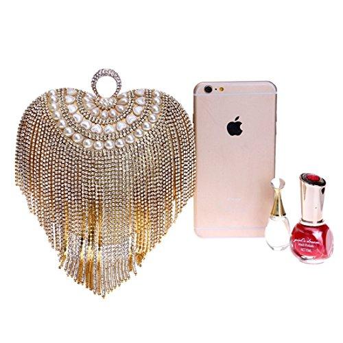 à en un Waveni coeur de avec Mini couleur Bag Sac pompon forme bandoulière Or Femme avec argent xPIYqrP