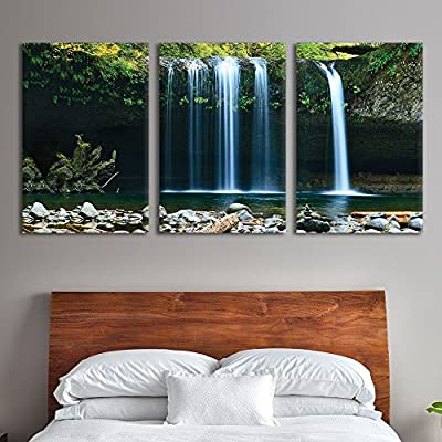 3 Panel Canvas Wall Art - Landscape Waterfall in The Forest - Giclee Print Gallery Wrap Modern Home Art Ready to Hang - 16
