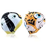 infant swim cap - Kids Swim Cap 2-Pack, Mee'sport Fun Silicone Critter Cute Cartoon Tiger Penguin Shaped Pattern for kids Children Boys Girls Waterproof Bathing Cap Durable and High Elastic Black White and Yellow