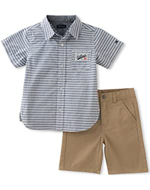 Tommy Hilfiger Baby Boys' 2 Pieces Short Set-Stripes Shirt, Blue, 6/9M