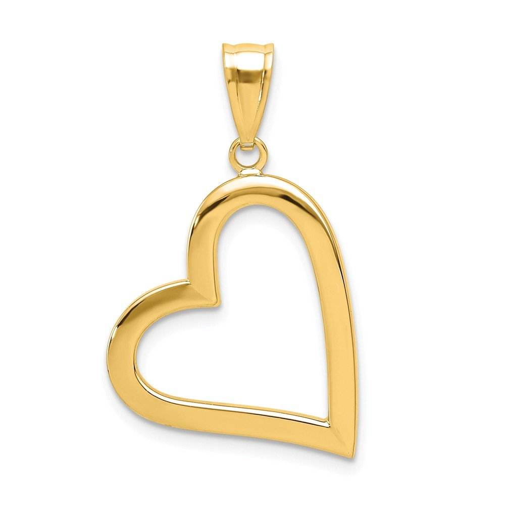 14k Yellow Gold Hollow Heart Pendant