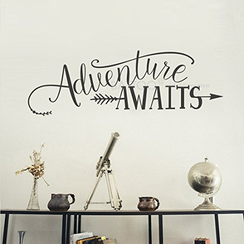 BATTOO Adventure Awaits Wall Decal Stickers, Adventure Quotes Travel Theme Wall Decor, 32'' W 11'' H Wanderlust Wall Decal Arrow Wall Decal Bedroom Decor, Black by BATTOO
