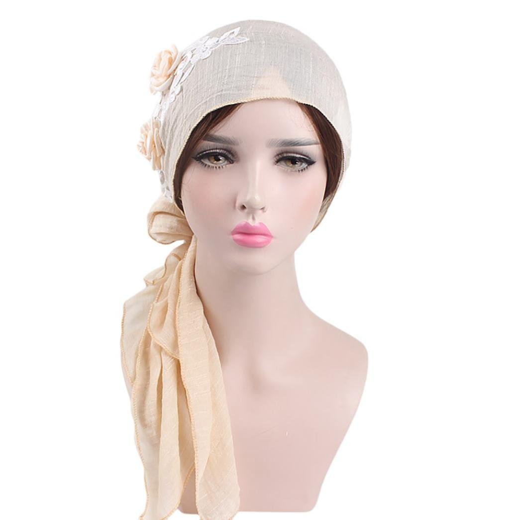 Solid Color Floral Lace Splice Retro Head Wrap Scarf Stretch Hair Scarf Bandana Turban Tie Sleep Hair Cover Hat for Cancer Patients Chemo