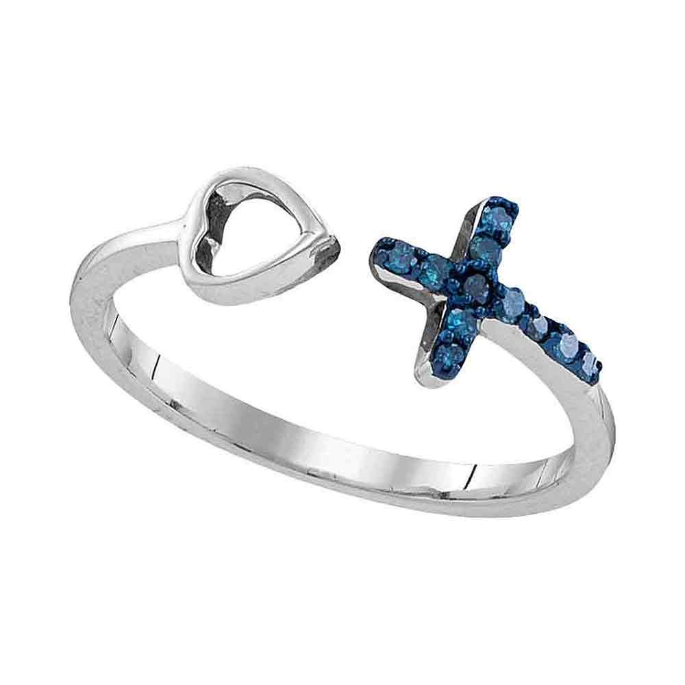 Sterling Silver Round Blue Diamond Cross Heart Bisected Band Ring 0.09 Cttw