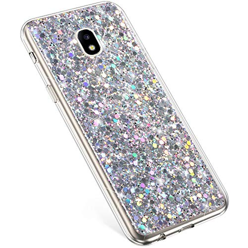 PHEZEN Compatible With Samsung Galaxy J3 2018 Case,J3 Achieve Case,J3 Star Case,J3V J3 V 3rd Gen,Express Prime 3,Amp Prime 3 Case,Girls Women Bling Glitter TPU Case Rubber Silicone Phone Case, Silver