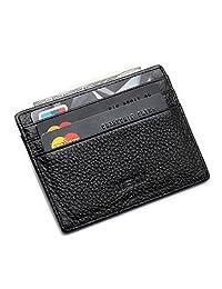 MEKU Slim Leather Wallet Credit Card Case Sleeve Card Holder With ID Window