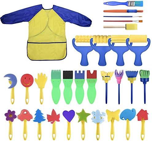 housesweet 31 Stück Kinder Malset Kleinkind Lernspielzeug Waschbare Pinsel Set für Kleinkind Kinder Frühes Lernspielzeug Finger Malt Schwämme Kunst Liefert Geschenke
