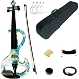 Kinglos 4/4 White Blue Flower Colored Solid Wood Intermediate-A Electric / Silent Violin Kit with Ebony Fittings Full Size (DSZA1201)