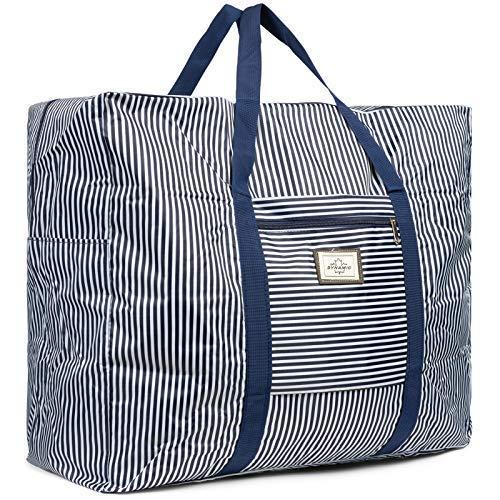Cleostyle Bolsa Playa Mujer Bolso Baño con Cremallera Comprador Playa Bolso del Bolso de Hombro Grande Bolsa de Compra 722 - Azul/Blanco Grande, 59 x ...