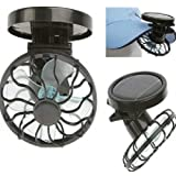 Flytaker Portable Mini Solar Clip Fan Household Hat Cap Cooling Fans Energy Saving Pack of 2