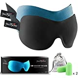 3D Sleep Mask (New Design by PrettyCare with 2 Pack) Eye Mask for Sleeping - Contoured Eyemask for Airplane with EarPlugs & Yoga Silk Bag for Travel - Best Night Blindfold Eyeshade for Men Women Kids