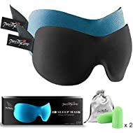 3D Sleep Mask (New Design by PrettyCare with 2 Pack) Eye Mask for Sleeping - Contoured Eyemask for Airplane with Silk Travel Pouch Bag & Ear Plugs - Best Night Blindfold Eyeshade for Men Women Kids