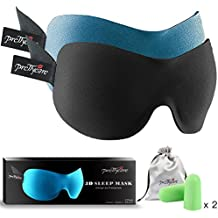 PrettyCare 3D Sleep Mask (New Design by with 2 Pack) Eye Mask for Sleeping - Contoured Eyemask Silk - Blindfold Airplane with Ear Plugs,Travel Pouch - Best Night Blinder Eyeshade for Men Women Kids