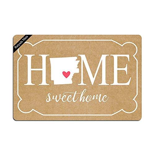 Personalized Welcome Home Sweet Home Arkansas Jute Doormat Entrance Floor Mat Funny Doormat Door Mat Decorative Indoor Outdoor Doormat Non-woven 23.6 By 15.7 Inch Machine Washable Fabric Top ()