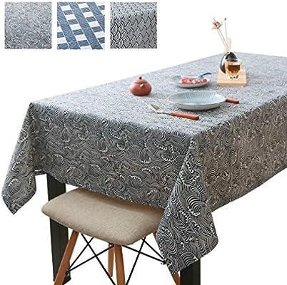JK Home Mantel Rectangular de Lino y algodón para Mesa de Comedor de Cocina, algodón, Lino, Blue#c, 90x140cm: Amazon.es: Hogar