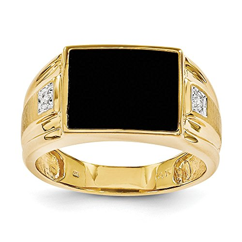 (Men's 14K Yellow Gold Genuine Diamond Black Onyx Ring (0.008 CTTW, I-J Color, I2)