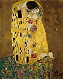 [Wooden Framed] DIY Painting, Paint by Number Kits for Adults –''Kiss'' by Gustav Klimt - Includes Brushes, Paints and Numbered Canvas – 16x20 Inch – Great for Kids and Adults – by Tsvetnoy