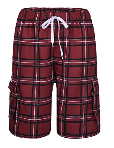 5ac89ccf1f5c4 Nonwe Men's Water Sports Plaid Quick Dry Lining Surf Trunks Red 34