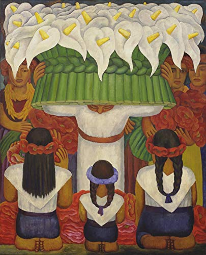 Diego Rivera - Flower Festival: Feast of Santa Anita, Size 11x14 inch, Gallery Wrapped Canvas Art Print Wall décor