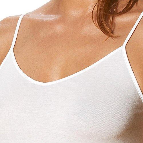 Mujer Top Mey–�?ER Pack–Sporty de camisa 25846–Serie Noblesse–sin dobladillo espaguetis de tirantes para–Camiseta de algodón supergekämmter–Color Blanco o Negro–Tamaño 36A 46 Weiß