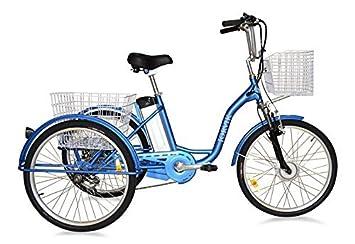 Triciclo eléctrico plegable para adultos Jorvik de 66 cm, 250 W/36 V, marco plegable, azul: Amazon.es: Deportes y aire libre