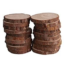 BQLZR 7cm-8cm Dia 1cm Thickness Natural Pine Wood Log Slices Unfinished Round Discs Tree Bark Wooden Circles for DIY Crafts Rustic Wedding Ornaments Pack of 20