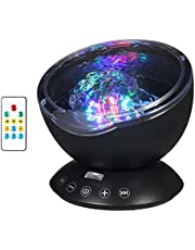 Festnight Ocean Wave Projector Lamp 12 LED & 7 Color Night Lights Music Player with 4 Hypnotic Musics & Remote Control for Living Room Baby Bedroom Black