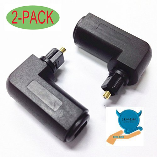 Digital Audio Cable Audio Adapter (Lemeng 2-PACK Toslink 90 Degree Digital Optical Audio Cable Adapter Male to Female)
