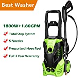 Homself High Pressure Power Washer 3000 PSI Electric Pressure Washer,1800W Rolling Wheels High Pressure Professional Washer Cleaner Machine+ (5) Nozzle Adapter