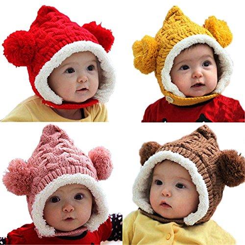 Mark8shop Lovely Winter Beanie Crochet Knit Loose Warm Kid Baby Girl Boy Dual Balls Ear Wool Knit Beanie Cap Earflap Hat ()