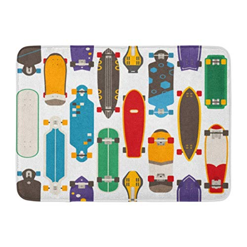 YGUII Doormats Bath Rugs Skateboard Pattern Various Skate Decks in Flat Skateboarding Boards of Different Colors and Types Bathroom Decor Rug 16X23.6in (40x60cm)