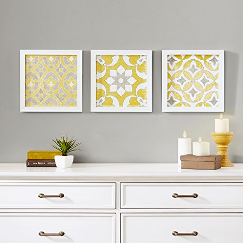 Tuscan Tiles Framed Gel Coated Paper Set of 3 Yellow (Art Framed Grey)