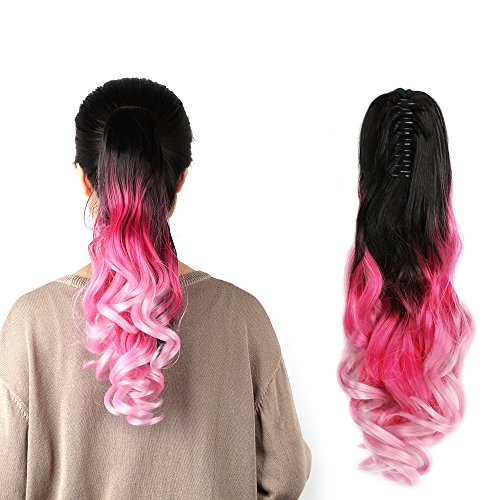 Neverland Beauty 22 Claw on Triple Ombre Three Tone Synthetic Curly Wavy Ponytail Hair Extensions Brown Black to Rose Red to Pink