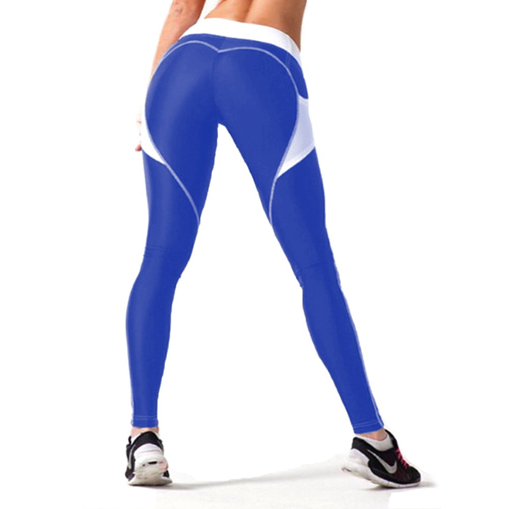 74e064e881ae5 Fittoo Women s Heart Shape Yoga Pants Sport Pants Workout Leggings Sexy  High Waist Trousers - Blue White
