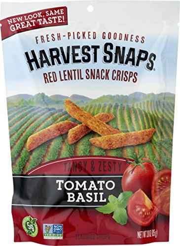 - Harvest Snaps Red Lentil Snack Crisps, Tomato Basil, deliciously baked and crunchy veggie snacks with plant protein and fiber, 3-Ounce Bag (Pack of 12)