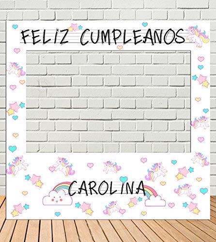 Tu Fiesta Mola Mazo Photocall de cumpleaños Unicornios 100x100cm| Divertido y económico|Detalle de cumpleaños| Hazte Unas Fotos Divertidas de ...