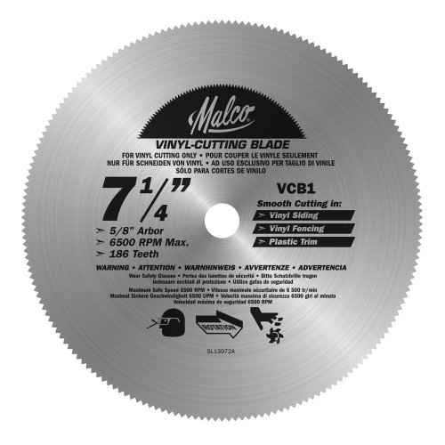 Malco VCB1 7-1/4-Inch Vinyl Siding and Fencing Cutting Circular Saw Blade
