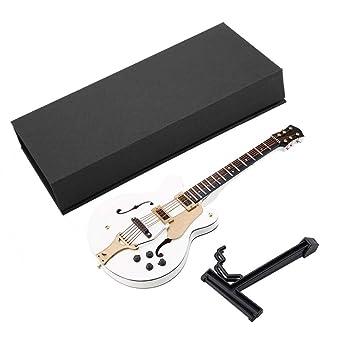 GLOGLOW Guitarra eléctrica Blanca y réplica de Guitarra en Miniatura con Caja, Modelo de Instrumento, Adornos, tamaño 7: Amazon.es: Hogar