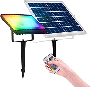 120W RGB Solar Landscape Light,Dimmable Color Changing Solar LED Flood Light Outdoor with Remote Control, IP65 Waterproof Wall Washer Light with 16 Colors,4 Modes for Garden, Lawn, Patio, Tree, Yard