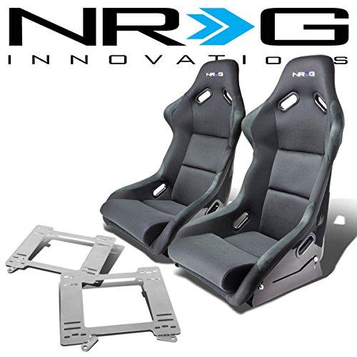 NRG FRP-300E Pair of Fiber Glass Bucket Racing Seat (Black)+Mounting Bracket for Chevy Camaro/Pontica Firebird 97 Chevrolet Camaro Fiberglass