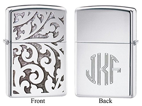 Personalized Zippo Filigree High Polish Chrome Lighter with Free - Monogram Filigree