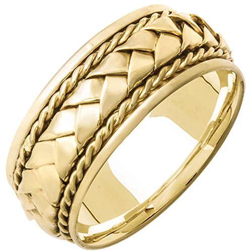 18K Yellow Gold Braided Basket Weave Men's Comfort Fit Wedding Band (8.5mm) Size-17c1
