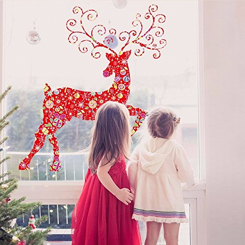 UberLyfe Merry Christmas with Deer Red Wall Sticker (Wall Covering Area: 112cm x 100cm)