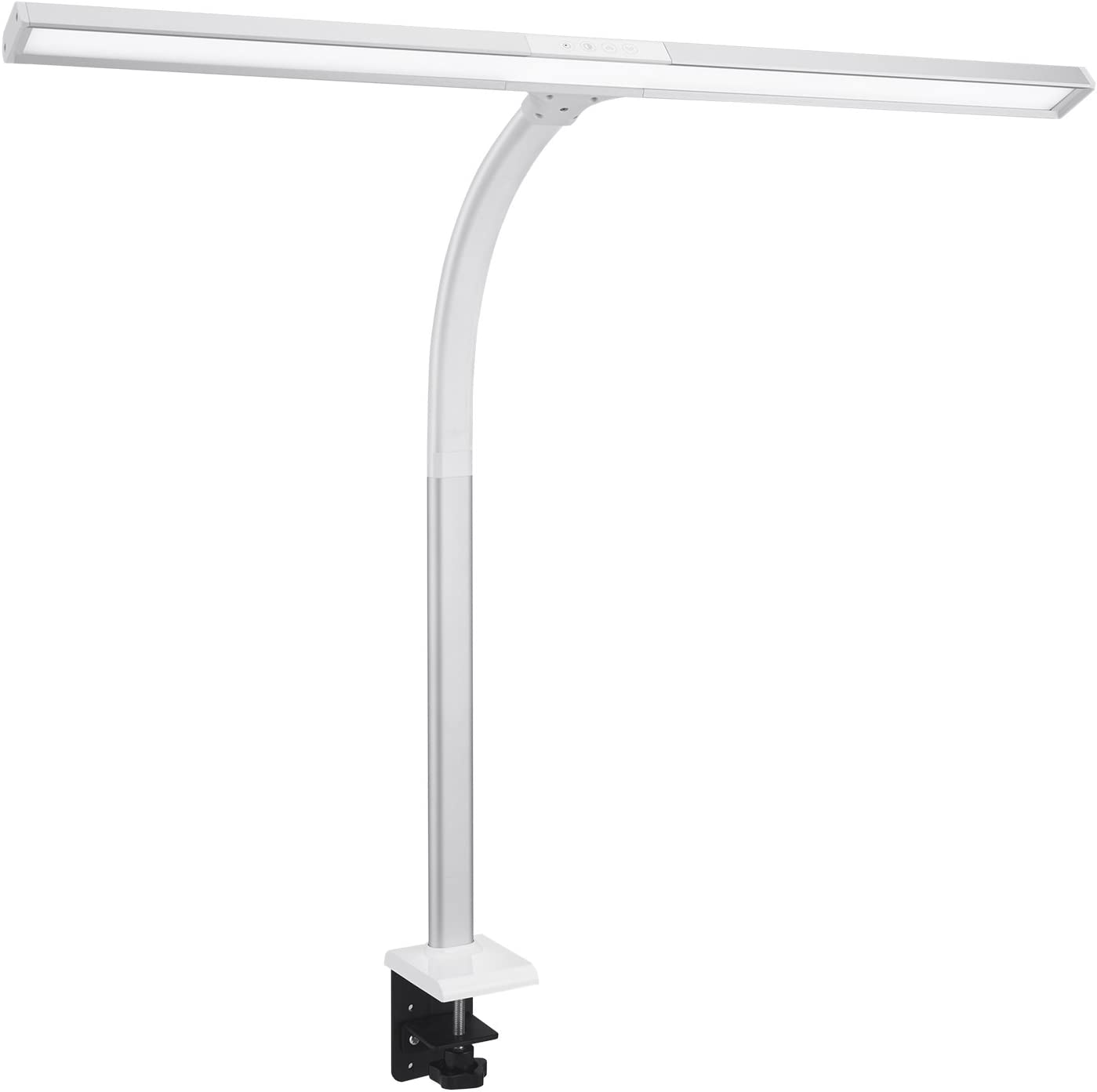Amazon Com Phive Led Task Lamp 20 Watt Super Bright Desk Lamp With Clamp Dimmable Gooseneck Monitor Lamp 4 Color Modes 5 Level Dimmer Memory Function Highly Adjustable Office Light Workbench Lamp Silver Home