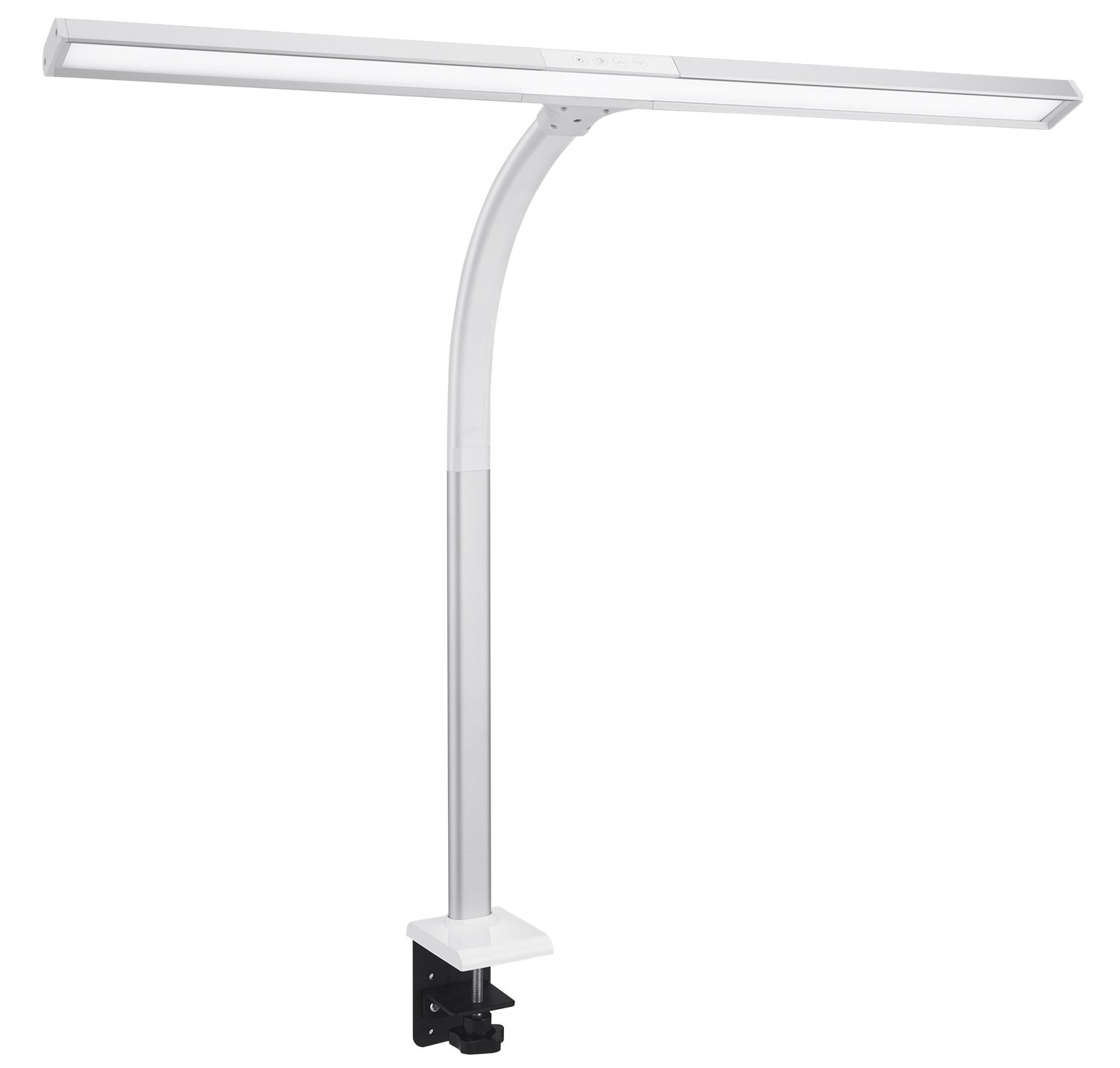 Phive LED Task Lamp, 15 Watt Super Bright Desk Lamp with Clamp, Dimmable Gooseneck Monitor Lamp(4 Color Modes, 5-Level Dimmer, Memory Function, Highly Adjustable Office Light/Workbench Lamp) Silver