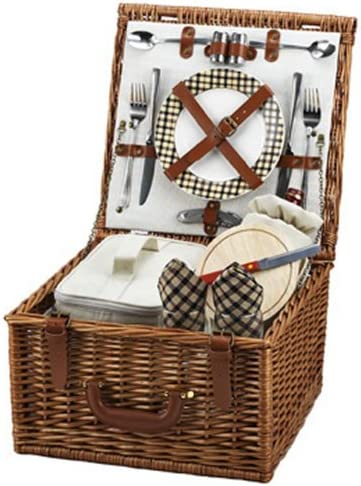 Picnic at Ascot Cheshire English-Style Willow Picnic Basket with Service for 2 – London Plaid