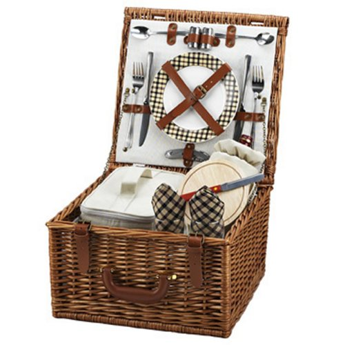 Picnic at Ascot Cheshire English-Style Willow Picnic Basket with Service for 2 - London Plaid
