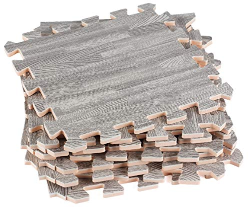 Dooboe Interlocking Foam Mats - Interlocking Floor Tiles - Gray Printed Wood Grain - Ideal for Home, Office, Playroom, Basement, Trade Show