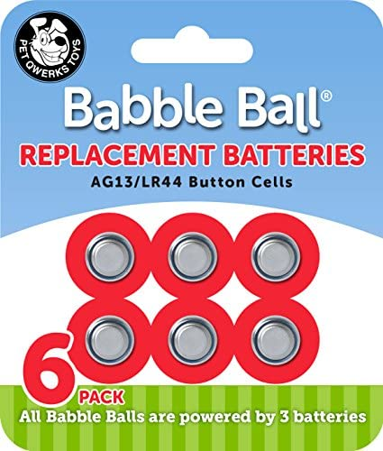 Pet Qwerks B1 Babble Ball Replacement Batteries AG13 LR44 Cells 6 per Carded Pack